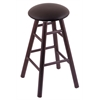 Holland Bar Stool Co. Oak Round Cushion Counter Stool with Smooth Legs, Dark Cherry Finish, Allante Espresso Seat, and 360 Swivel