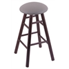 Holland Bar Stool Co. Oak Round Cushion Bar Stool with Smooth Legs, Dark Cherry Finish, Allante Medium Grey Seat, and 360 Swivel