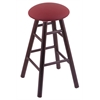 Oak Round Cushion Counter Stool with Smooth Legs, Dark Cherry Finish, Allante Wine Seat, and 360 Swivel