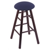 Holland Bar Stool Co. Oak Round Cushion Bar Stool with Smooth Legs, Dark Cherry Finish, Axis Denim Seat, and 360 Swivel