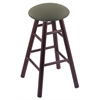 Oak Round Cushion Counter Stool with Smooth Legs, Dark Cherry Finish, Axis Grove Seat, and 360 Swivel