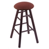 Oak Round Cushion Counter Stool with Smooth Legs, Dark Cherry Finish, Axis Paprika Seat, and 360 Swivel