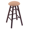Oak Round Cushion Counter Stool with Smooth Legs, Dark Cherry Finish, Axis Summer Seat, and 360 Swivel
