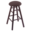 Oak Round Cushion Counter Stool with Smooth Legs, Dark Cherry Finish, Axis Truffle Seat, and 360 Swivel