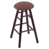 Oak Round Cushion Counter Stool with Smooth Legs, Dark Cherry Finish, Axis Willow Seat, and 360 Swivel