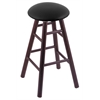 Oak Round Cushion Counter Stool with Smooth Legs, Dark Cherry Finish, Black Vinyl Seat, and 360 Swivel