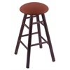 Oak Round Cushion Bar Stool with Smooth Legs, Dark Cherry Finish, Rein Adobe Seat, and 360 Swivel