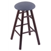 Holland Bar Stool Co. Oak Round Cushion Counter Stool with Smooth Legs, Dark Cherry Finish, Rein Bay Seat, and 360 Swivel