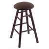 Holland Bar Stool Co. Oak Round Cushion Bar Stool with Smooth Legs, Dark Cherry Finish, Rein Coffee Seat, and 360 Swivel