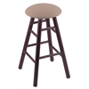 Holland Bar Stool Co. Oak Round Cushion Bar Stool with Smooth Legs, Dark Cherry Finish, Rein Thatch Seat, and 360 Swivel