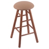 Holland Bar Stool Co. Oak Round Cushion Bar Stool with Smooth Legs, Medium Finish, Allante Beechwood Seat, and 360 Swivel