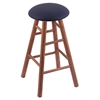 Oak Round Cushion Bar Stool with Smooth Legs, Medium Finish, Allante Dark Blue Seat, and 360 Swivel