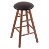 Holland Bar Stool Co. Oak Round Cushion Counter Stool with Smooth Legs, Medium Finish, Allante Espresso Seat, and 360 Swivel