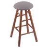 Holland Bar Stool Co. Oak Round Cushion Bar Stool with Smooth Legs, Medium Finish, Allante Medium Grey Seat, and 360 Swivel