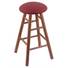 Oak Round Cushion Bar Stool with Smooth Legs, Medium Finish, Allante Wine Seat, and 360 Swivel