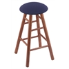 Oak Round Cushion Bar Stool with Smooth Legs, Medium Finish, Axis Denim Seat, and 360 Swivel