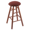 Oak Round Cushion Counter Stool with Smooth Legs, Medium Finish, Axis Paprika Seat, and 360 Swivel