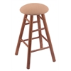 Holland Bar Stool Co. Oak Round Cushion Counter Stool with Smooth Legs, Medium Finish, Axis Summer Seat, and 360 Swivel