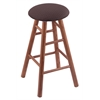 Oak Round Cushion Bar Stool with Smooth Legs, Medium Finish, Axis Truffle Seat, and 360 Swivel