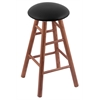 Oak Round Cushion Bar Stool with Smooth Legs, Medium Finish, Black Vinyl Seat, and 360 Swivel