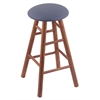 Holland Bar Stool Co. Oak Round Cushion Bar Stool with Smooth Legs, Medium Finish, Rein Bay Seat, and 360 Swivel