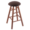Holland Bar Stool Co. Oak Round Cushion Bar Stool with Smooth Legs, Medium Finish, Rein Coffee Seat, and 360 Swivel