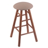 Oak Round Cushion Extra Tall Bar Stool with Smooth Legs, Medium Finish, Rein Thatch Seat, and 360 Swivel