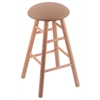 Oak Round Cushion Bar Stool with Smooth Legs, Natural Finish, Allante Beechwood Seat, and 360 Swivel
