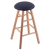 Oak Round Cushion Bar Stool with Smooth Legs, Natural Finish, Allante Dark Blue Seat, and 360 Swivel