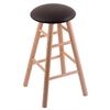 Oak Round Cushion Bar Stool with Smooth Legs, Natural Finish, Allante Espresso Seat, and 360 Swivel