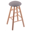 Oak Round Cushion Bar Stool with Smooth Legs, Natural Finish, Allante Medium Grey Seat, and 360 Swivel