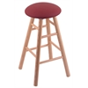 Oak Round Cushion Bar Stool with Smooth Legs, Natural Finish, Allante Wine Seat, and 360 Swivel