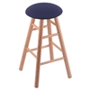 Oak Round Cushion Bar Stool with Smooth Legs, Natural Finish, Axis Denim Seat, and 360 Swivel