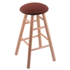 Oak Round Cushion Bar Stool with Smooth Legs, Natural Finish, Axis Paprika Seat, and 360 Swivel