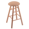 Oak Round Cushion Counter Stool with Smooth Legs, Natural Finish, Axis Summer Seat, and 360 Swivel