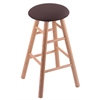 Oak Round Cushion Bar Stool with Smooth Legs, Natural Finish, Axis Truffle Seat, and 360 Swivel