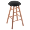 Oak Round Cushion Bar Stool with Smooth Legs, Natural Finish, Black Vinyl Seat, and 360 Swivel