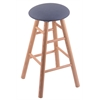 Holland Bar Stool Co. Oak Round Cushion Bar Stool with Smooth Legs, Natural Finish, Rein Bay Seat, and 360 Swivel