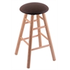 Holland Bar Stool Co. Oak Round Cushion Bar Stool with Smooth Legs, Natural Finish, Rein Coffee Seat, and 360 Swivel