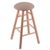 Oak Round Cushion Bar Stool with Smooth Legs, Natural Finish, Rein Thatch Seat, and 360 Swivel