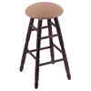 Oak Round Cushion Bar Stool with Turned Legs, Dark Cherry Finish, Allante Beechwood Seat, and 360 Swivel
