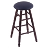 Oak Round Cushion Bar Stool with Turned Legs, Dark Cherry Finish, Allante Dark Blue Seat, and 360 Swivel