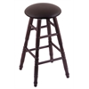 Holland Bar Stool Co. Oak Round Cushion Bar Stool with Turned Legs, Dark Cherry Finish, Allante Espresso Seat, and 360 Swivel