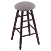 Holland Bar Stool Co. Oak Round Cushion Bar Stool with Turned Legs, Dark Cherry Finish, Allante Medium Grey Seat, and 360 Swivel