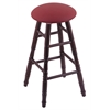 Holland Bar Stool Co. Oak Round Cushion Counter Stool with Turned Legs, Dark Cherry Finish, Allante Wine Seat, and 360 Swivel