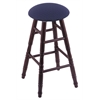 Oak Round Cushion Bar Stool with Turned Legs, Dark Cherry Finish, Axis Denim Seat, and 360 Swivel