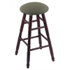 Oak Round Cushion Bar Stool with Turned Legs, Dark Cherry Finish, Axis Grove Seat, and 360 Swivel