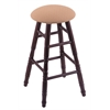 Oak Round Cushion Bar Stool with Turned Legs, Dark Cherry Finish, Axis Summer Seat, and 360 Swivel