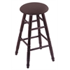 Oak Round Cushion Bar Stool with Turned Legs, Dark Cherry Finish, Axis Truffle Seat, and 360 Swivel