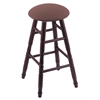 Holland Bar Stool Co. Oak Round Cushion Bar Stool with Turned Legs, Dark Cherry Finish, Axis Willow Seat, and 360 Swivel